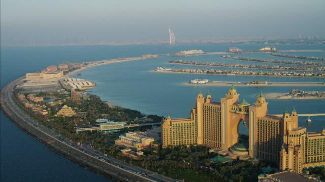 aerial atlantis hotel resort dubai palm jumeirah persian - atlantis stock videos and b-roll footage