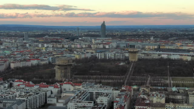 aerial: augarten park and flak towers in vienna, austria - tower stock videos & royalty-free footage