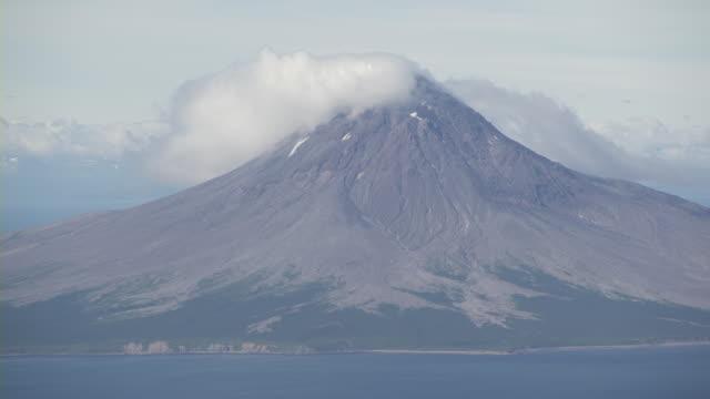 aerial augustine volcano, clouds, sea, alaska, september 2011 - dome stock videos & royalty-free footage