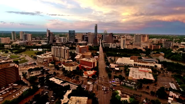Aerial Austin Sunset after Spring Storms Aerial Over South Congress Avenue