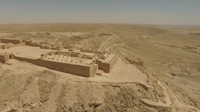 aerial/ avdat national park in the negev desert, southern israel - negev stock videos & royalty-free footage