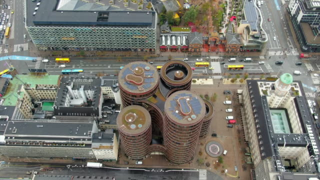 aerial: axel towers, city streets and cityscape, copenhagen, denmark - five people stock videos & royalty-free footage