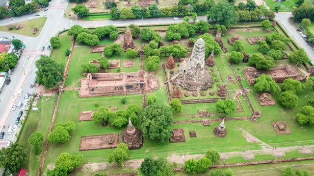 aerial ayutthaya ancient city - ayuthaya province stock videos and b-roll footage