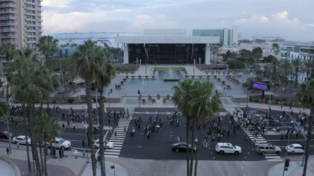 aerial back from theater building over marching protesters with signs on city street under palm trees - long beach, california - long beach california stock videos & royalty-free footage