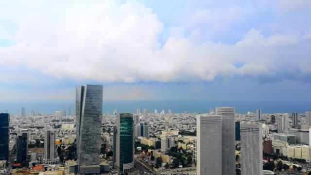 aerial backward: beautiful modern buildings in tel-aviv, israel - イスラエル点の映像素材/bロール