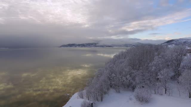 aerial backward: scenery with magic filled atmosphere in lofoten norway - lofoten, norway - nordland county stock videos & royalty-free footage