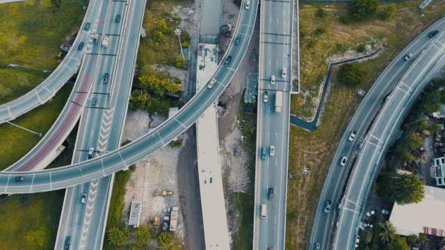 Aerial Bangkok city highway