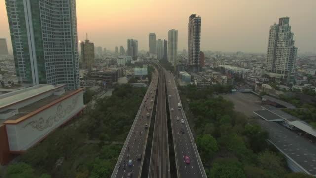Aerial Bangkok Riverside Downtown at sunset