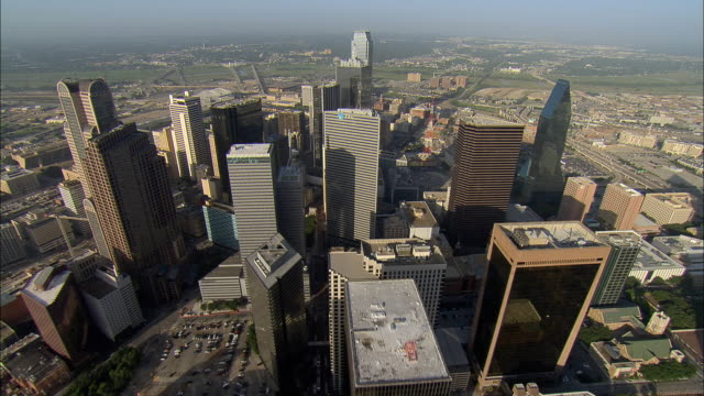 Aerial WS Bank of America Plaza and downtown buildings near Reunion Tower / Dallas, Texas, USA