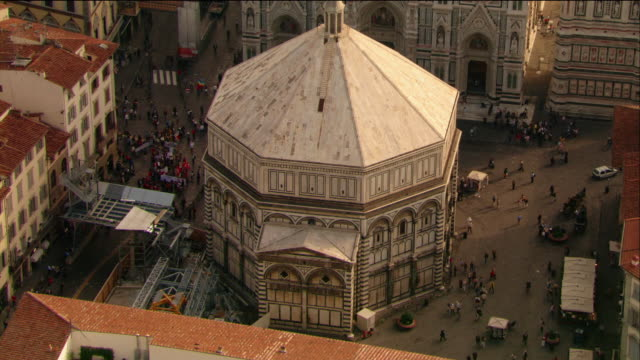 aerial baptistery of santa maria del fiore / florence, italy - architectural dome stock videos & royalty-free footage