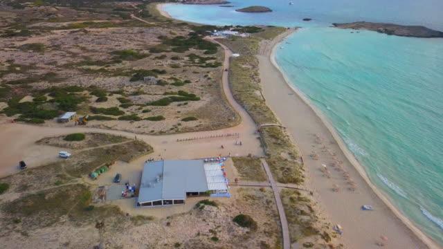 aerial: bar in the near the beach in ibiza - イビサ島点の映像素材/bロール