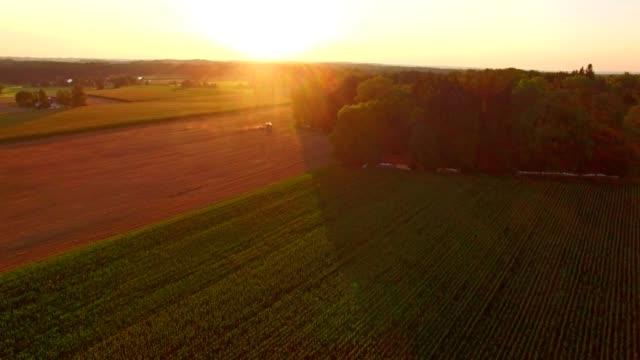 Antenne: Beierse landschap in de zomer bij zonsondergang