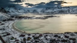 Aerial: Bay at Lofoten Islands in Norway at Winter Time