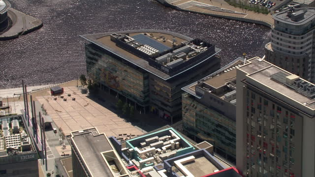 aerial bbc mediacity building in salford - bbc stock videos & royalty-free footage