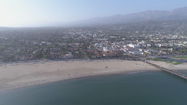 aerial beach santa barbara, california - santa barbara california stock videos and b-roll footage