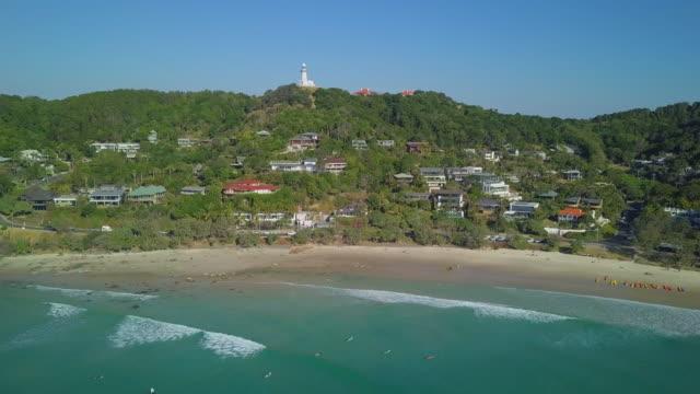 Aerial: Beautiful Beach in Byron Bay, Byron Bay, Australia