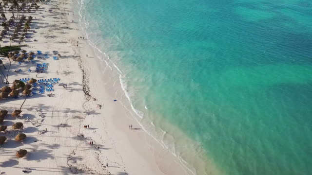 aerial: beautiful beach in punta cana - punta cana stock videos and b-roll footage