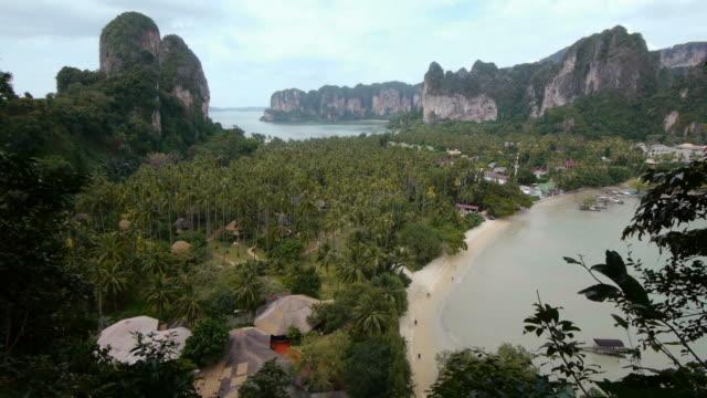aerial. beautiful beach in railay, krabi, thailand.  - spoonfilm stock-videos und b-roll-filmmaterial