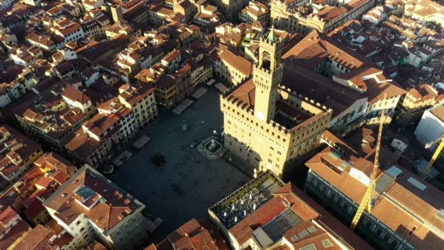 aerial: beautiful cityscape with famous palazzo vecchio - florence, italy - florence italy stock videos & royalty-free footage