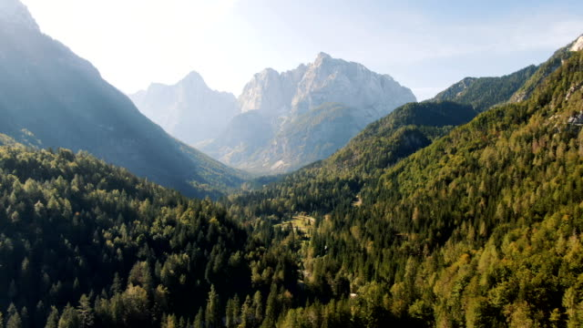 aerial - beautiful green valley with surrounding mountains. triglav national park, slovenia - national park stock videos & royalty-free footage