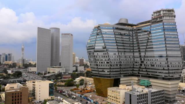 aerial: beautiful modern buildings in tel-aviv, israel - israel stock videos & royalty-free footage