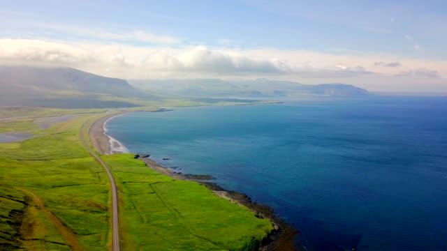 aerial beautiful view coast of western iceland - coastal road stock videos & royalty-free footage