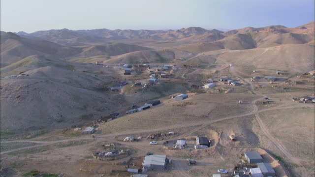 aerial bedouin village, judea desert, israel - negev stock videos & royalty-free footage