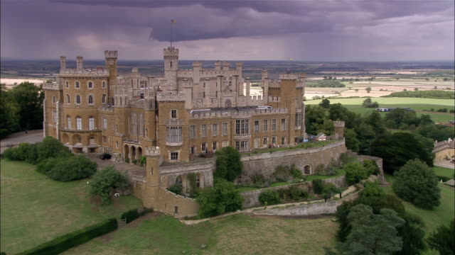 aerial belvoir castle / leicestershire, england - leicestershire stock videos & royalty-free footage