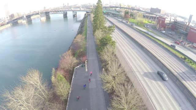 aerial bike train - portland oregon bike stock videos & royalty-free footage