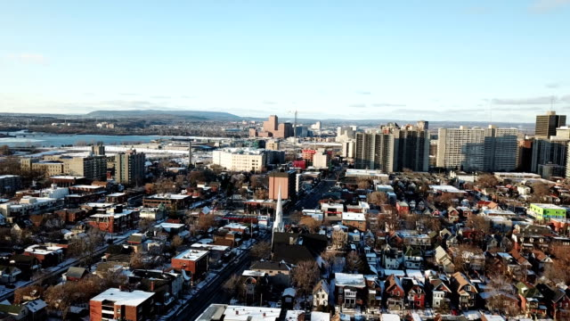 aerial bird eye view skyline at winter season in ottawa. - ottawa stock videos & royalty-free footage