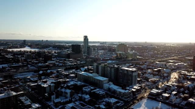 aerial bird eye view skyline at winter season in ottawa. - ottawa stock videos & royalty-free footage