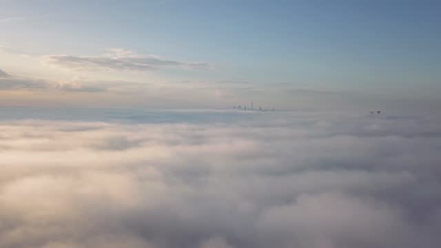 aerial / birds eye view of toronto city (ontario, canada, north america) from a airplane window: flying above the clouds seeing the  cn tower - cn tower stock videos & royalty-free footage