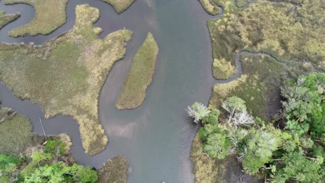 Aerial birdseye view of fishing canals in the Crystal River, Florida