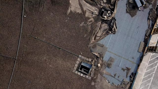 aerial birdseye view of roof damage caused by a tornado in wilkes-barre township of pennsylvania - wilkes barre stock videos & royalty-free footage