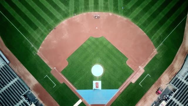 Aerial birdseye view of Target field in Minneapolis Minnesota