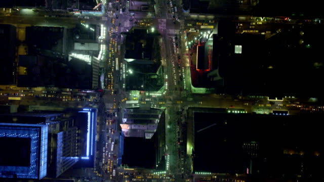 Aerial BIRDS-EYE-VIEW flyover Times Square nighttime