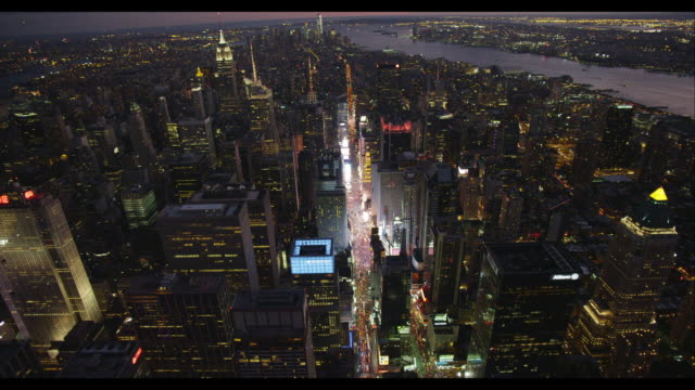 aerial birds-eye-view of times square - skyline stock videos & royalty-free footage