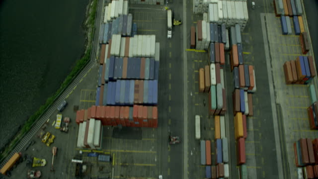Aerial BIRDS-EYE-VIEW shipping containers and shipping facility