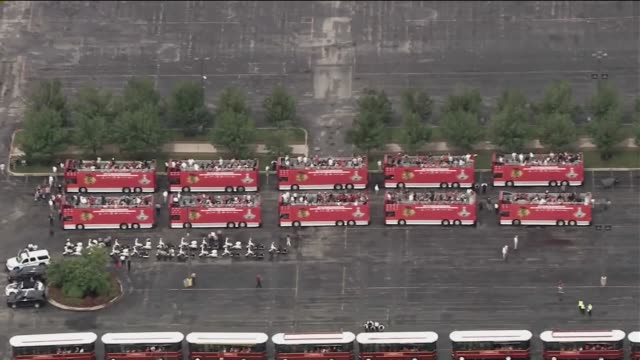 WGN Aerial Blackhawks Parade Buses Lined Up Before Parade on June 18 2015 in Chicago Illinois
