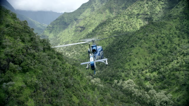 aerial blue/grey airbus h-130 helicopter flying away from camera over valley, kauai, hawaii - helicopter stock videos & royalty-free footage