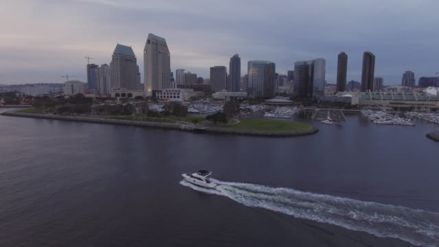 aerial boat cityscape - san diego stock videos and b-roll footage