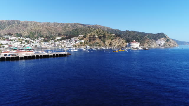 aerial, boats docked in catalina island pier - 固定された点の映像素材/bロール