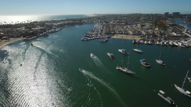 aerial boats flyover - marina stock videos & royalty-free footage