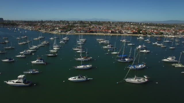 aerial boats in newport harbor - marina stock videos & royalty-free footage