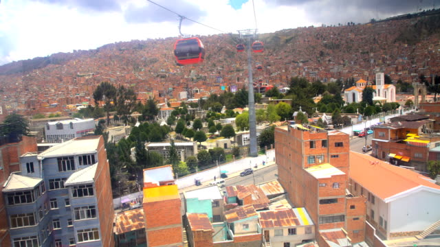 aerial bolivian view from cable car transit system - ボリビア点の映像素材/bロール