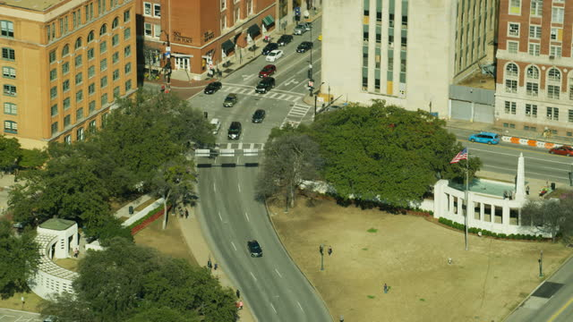 aerial book depository dealey plaza - 1963 stock videos & royalty-free footage