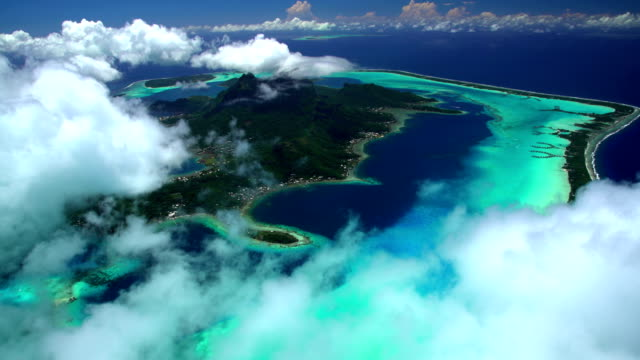 aerial bora bora mt otemanu tropical overwater bungalows - bora bora aerial stock videos and b-roll footage