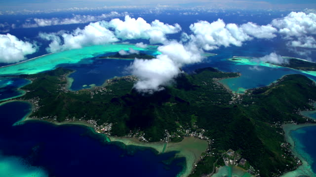 aerial bora bora mt otemanu tropical overwater bungalows - french polynesia stock videos & royalty-free footage
