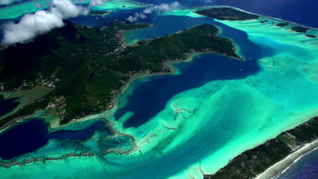 aerial bora bora mt otemanu vaitape south pacific - bora bora stock videos & royalty-free footage