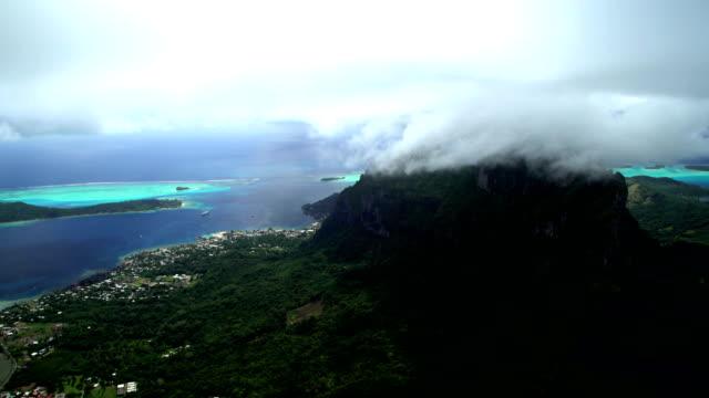 aerial bora bora mt otemanu vaitape south pacific - polynesian ethnicity stock videos & royalty-free footage